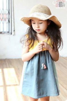 cute summer dress- color blocked trapeze