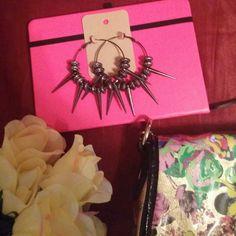 Handmade Hoop earrings NWT Handmade Hoop earrings...gunmetal hoops & beads Jewelry Earrings