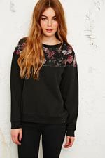 Pins & Needles Floral Lace Yoke Sweatshirt at Urban Outfitters