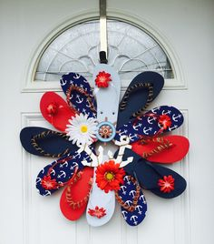 A personal favorite from my Etsy shop https://www.etsy.com/listing/233174983/handmade-flip-flop-wreath-door-wall