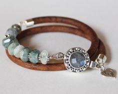 Beaded bracelet  labrodorite aquamarine by ChickpeaDesignStudio