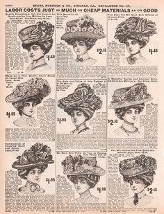 Lady's vintage hats (via 1908 Sears, Roebuck catalogue)
