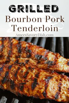 This grilled bourbon pork tenderloin is flavorful and easy made with Kentucky bourbon soy sauce brown sugar garlic dijon mustard and spices. This easy grill recipe is packed with protein and perfect for meal prep! Grilled Pork Tenderloin Marinade, Grilled Pork Roast, Grilled Steak Recipes, Pork Tenderloin Recipes, Grilling Recipes, Pork Recipes, Cooking Recipes, Pork Marinade Recipes, Kid Recipes