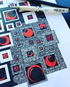 Black on white on black. Doodles Zentangles, Zentangle Patterns, Zen Doodle, Doodle Art, Newspaper Painting, Tangled Drawing, Old Book Art, Drawing Projects, Drawing Tips