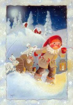 Secret Party Kaarina Toivanen Christmas Card Finland: Home & Kitchen. Swedish Christmas, Christmas Gnome, Christmas Music, Scandinavian Christmas, Christmas And New Year, Winter Christmas, Christmas Crafts, Winter Snow, Illustrations