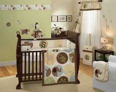 Safari Themed Baby Room! How cool! Finish it off with one of our Monkey Jellycat stuffies!