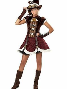The Victorian Steampunk look is becoming super popular for fancy dress parties and Halloween. Create your individual look with the Steampunk Girl Tween Costume. Costume includes dress, glovelettes, hat, scarf and goggles. Moda Steampunk, Style Steampunk, Victorian Steampunk, Steampunk Clothing, Steampunk Fashion, Steampunk Couture, Steampunk Dress, Steampunk Cosplay, Tween Halloween Costumes