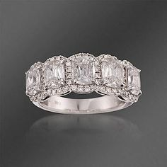 Ross-Simons - Henri Daussi 2.81 ct. t.w. Diamond 5-Stone Ring in 14kt White Gold - #786760. >>Click on the Preset Diamond Engagement Ring to see more options like this.
