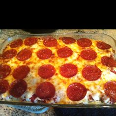 Spaghetti Pizza:I made this recipe after the kids raved about the spaghetti pizza they ate at summer camp. Cook 1/2 an onion & one pound of ground turkey. Also, cook an entire package of spaghetti al dente, drain, & mix with one egg, a pinch of salt & pepper & a 1/4 of a cup of milk. Layer in large greased dish. Next, throw on the onions and meat. Next, put a layer of mozzerella cheese followed by a a layer of red sauce, another layer of cheese, and then pepperoni. Bake at 350 F for 30…