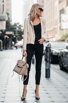 Blonde Woman Wearing IRO Agnette Tweed Jacket Black Skinny Jeans Celine Belt Bag Valentino Rockstud Pumps Fashion Jackson Dallas Blogger Fashion Blogger Street Style