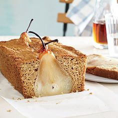 Poached Pear Bread- says you can use your favorite quick bread batter. Try with almond bread recipe on cooking light website- a delicious twist on a French almond pear tart! Pear Recipes, Sweet Recipes, Baking Recipes, Dessert Recipes, Muffin Recipes, Yummy Recipes, Healthy Recipes, Pear Quick Bread, Pear Bread