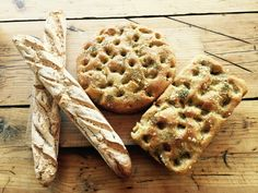 Gluten-free sourdough baguette and rosemary sea salt focaccia