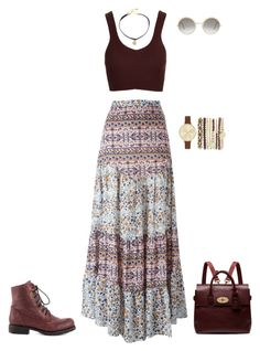 """""""She Loves Long Skirts And Boots!"""" by brandena on Polyvore featuring Chinese Laundry, See by Chloé, Topshop, Mulberry, Vanessa Mooney, Cutler and Gross and Jessica Carlyle"""