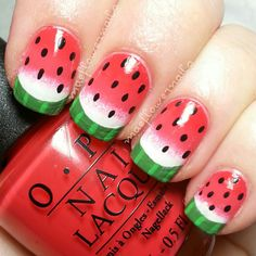 IG maeflowernails- Watermelon nails inspired by @jamylyn