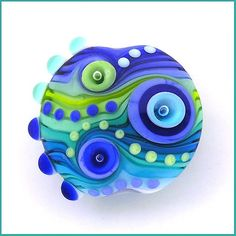 Michal S- True Blue - Lampwork lentil bead (1)