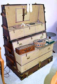 Antique Dresser Trunk More Suitcases Trunks Vintage Old Trunks, Vintage Trunks, Trunks And Chests, Antique Trunks, Vintage Suitcases, Vintage Luggage, Campaign Furniture, Steamer Trunk, Antique Furniture