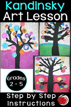 Free step by step instructions on how your students can create these beautiful Kandinsky inspired trees. Ideal for grade, grade, grade, and grade classrooms. Art your students can be proud of. No two will turn out the same. Art focused on t Arts And Crafts For Teens, Art And Craft Videos, Art For Kids, Third Grade Art, Grade 3 Art, 3rd Grade Art Lesson, Grade 2, Texture Design, Design Color