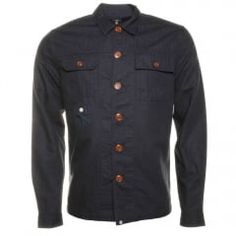 Pretty Green Mens Navy Stamford L/s Overshirt