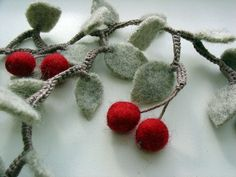 Wool Cherry Necklace