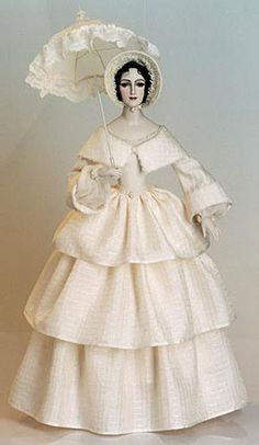 Princess Mary Biscuit porcelain, Chinese silk, gas, atlas, antique silk, laces and beads. A wig of real mohair is made by a professional wig-maker. The lacy umbrella and hat are made under the special order. Hand painting.