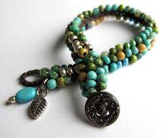 """Crochet single wrap beaded bracelet, """"waterfall"""",  aqua bracelet, bohemian jewelry, crochet jewelry, spring fashion, ooak, coffycrochet"""
