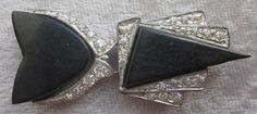 ART DECO Two Piece Bakelite and Paste by OneWomanRepurposed