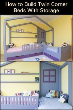 Corner twin bed with storage great for the kids bedroom! Corner Twin Beds, Bed In Corner, Best Bed Designs, Art Shed, Space Saving Beds, Bed Storage, Bunk Beds, Kids Bedroom, Separate