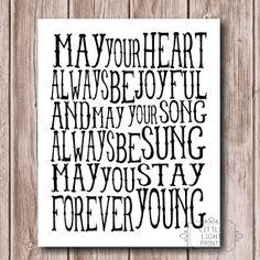 Our Brother Sister Wedding Song Forever Young Print 17 00 Via Etsy