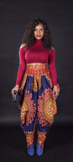 Harem pant.   Ankara | Dutch wax | Kente | Kitenge | Dashiki | African print dress | African fashion | African women dresses | African prints | Nigerian style | Ghanaian fashion | Senegal fashion | Kenya fashion | Nigerian fashion | Ankara crop top (affiliate)