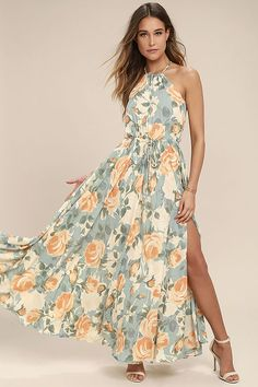 Cherish every special occasion spent in the Precious Memories Light Blue and Peach Floral Print Maxi Dress! Dreamy woven Georgette, with a light blue, sage, beige, and peach floral print, cascades from a drawstring, halter neck, to a sleeveless bodice with drawstring waist. Back keyhole. Maxi skirt with side slit.