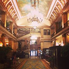 Discovered Milwaukee's answer to The Breakers in The Pfister! Gorgeous, elegant and classic, this venue is truly amazing #milwaukeebrides #weddingvenue  #thepfisterhotel