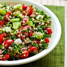 Bulgar Salad with Tomatoes, Cucumbers, Parsley, Mint, and Lemon