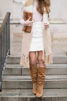 I've long loved wearing white jeans to lighten up winter outfits. Now, I have another means of doing so with this darling white denim skirt! | winter skirts | winter style tips | winter fashion ideas | styling for winter | cold weather fashion | styling a skirt in winter || a lonestar state of southern
