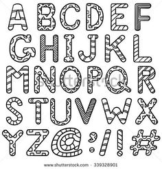 Isolated english abc letters with tribal doodle ornament decoration Doodle Alphabet, Hand Lettering Alphabet, Doodle Lettering, Creative Lettering, Doodle Art, Graffiti Alphabet, Lettering Styles, Bullet Journal Font, Journal Fonts