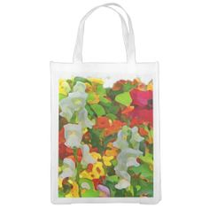 Flower Garden Colors Abstract Reusable Grocery Bags