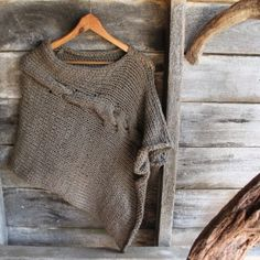 Urban Poncho pure merino hand knitted in Sage Grey Harvest Wool for sale www.timberandtwine.co