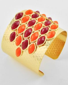 Gold Tone / Red Acrylic / Lead Compliant / Cuff Bracelet