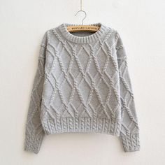 Cable Retro Solid Color Scoop Knit Sweater - Meet Yours Fashion - 2