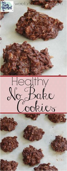 Healthy Chocolate Oatmeal No Bake Cookies These cafeteria favorites are delicious and free of refined sugar! A healthy version that tastes just as awesome as the original! Heart Healthy Desserts, Healthy Deserts, Healthy Sweets, Healthy Dessert Recipes, Healthy Baking, Cookie Recipes, Keto Recipes, Healthy Food, Nutella Recipes