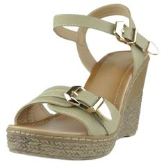 1d0913cea72 Womens Open Toe Platform Sandals Front Buckle Accent Wedge Shoes Beige  fashion style outfit footwear Wedge