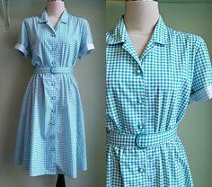 Vintage 50er Jahre Kleid Gingham Check  80er von LittleGhostVintage