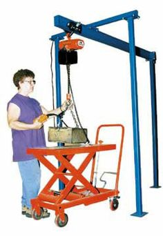 Extra Travel Tri-Post Jibs adapt well to several applications. Side posts can straddle a work table and allow materials to be handled over a work area. The two legs can be mounted in front of a work table and overhead beam cantilevered over the work table.  Available in 300; 600; 1,000; 2,000 Lbs. Capacity.