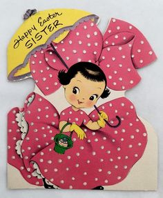 Vintage Betty Bow Die Cut Easter Card Girl Pink Polka Dot Dress Egg Parasol