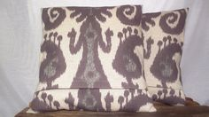 Pillow Cover 16 x 16 Ikat Amethyst , Aubergine, Purple, Plum Print Woven Cotton Fabric , Oatmeal Cream Background