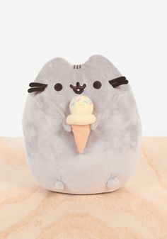 Pusheen with Ice Cream Plush - the cutest kitty on the planet, enjoying a treat.