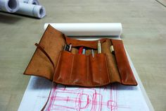 041 Hand Stitched Leather Pencil Case Leather от alwaysoozz