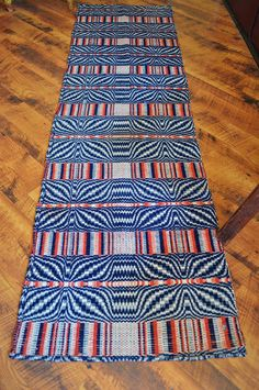 Antique 19th Century Red White and Blue Coverlet Panel | eBay