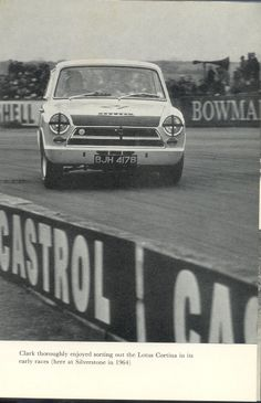 """[ Jim Clark book] caption: """"Clark thoroughly enjoyed sorting out the Lotus Cortina in its early races (here at Silverstone in 1964)"""" [Who says you can't broadslide (""""dirt-track it"""") on asphalt?!! I think the road racers called it a """"four wheel drift.""""]"""