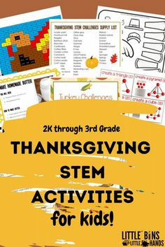 STEM Packs are great for challenging kids on many levels! In this Thanksgiving STEM Pack for kids you will find problem based activities, shape building with cranberries activities, and more. What makes these kids activity packs one of a kind are the age modifications that you can make. That's right! Modify these fall activities from 2K to 3rd graders! There are no limits to kid's learning with STEM activity packs for kids.