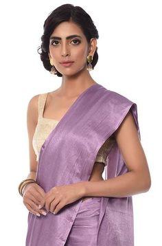 Mauve cotton satin saree